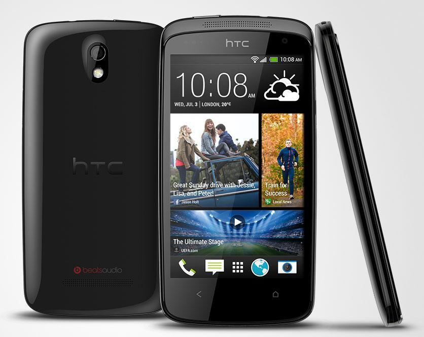 HTC Desire 500 en color negro vista frontal, lateral y trasera