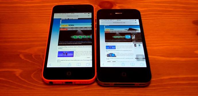 iOS 7 en un iPhone 5C y un iPhone 4.