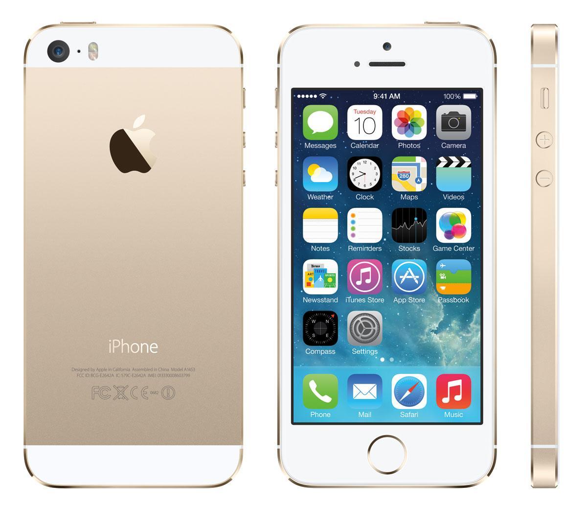 iPhone 5S de color oro vista frontal lateral y trasera