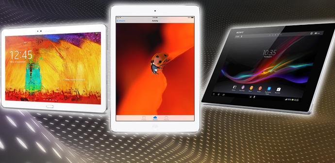Comparativa iPad Air, Sony Xperia Tablet Z y Galaxy Note 10.1 2014.
