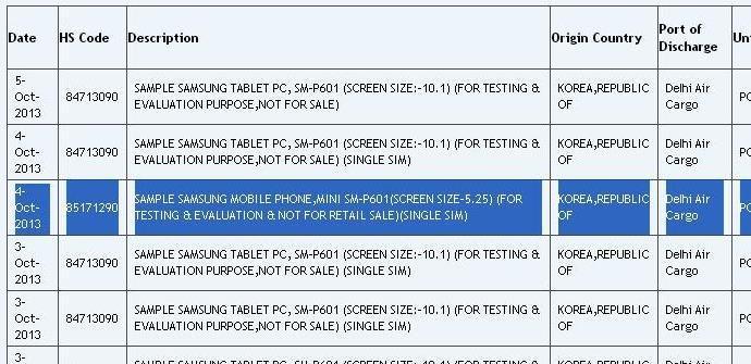 Albarán de entrega del Samsung Galaxy Note Mini