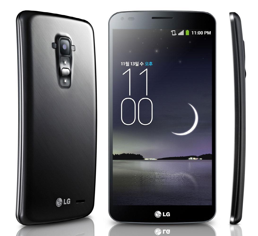 LG G Flex vista frontal, trasera y lateral