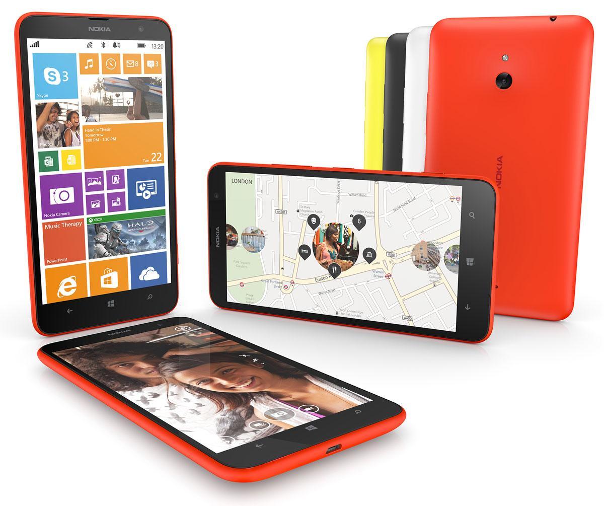 Nokia Lumia 1320 en color rojo, negro y amarillo