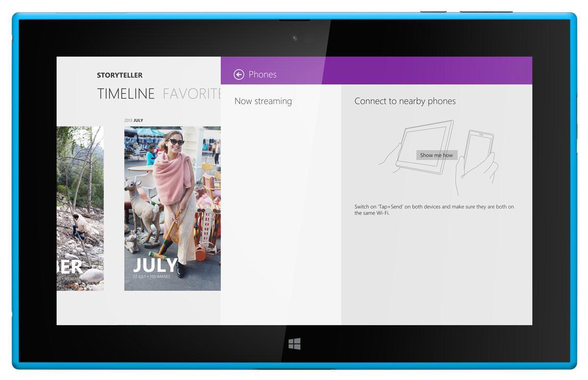Nokia Lumia 2520 vista frontal con mapas en pantalla