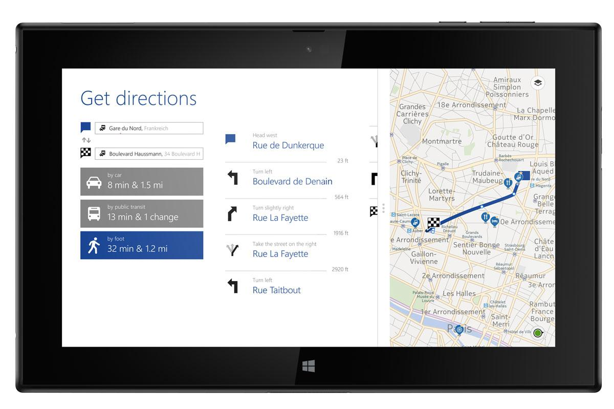 Nokia Lumia 2520 con mapas en pantalla
