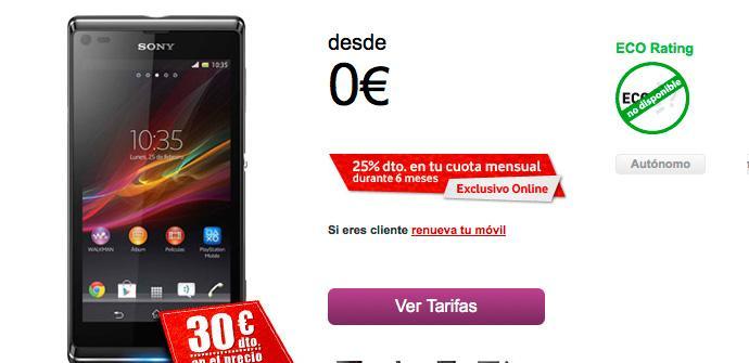 Sony Xperia L con Vodafone.