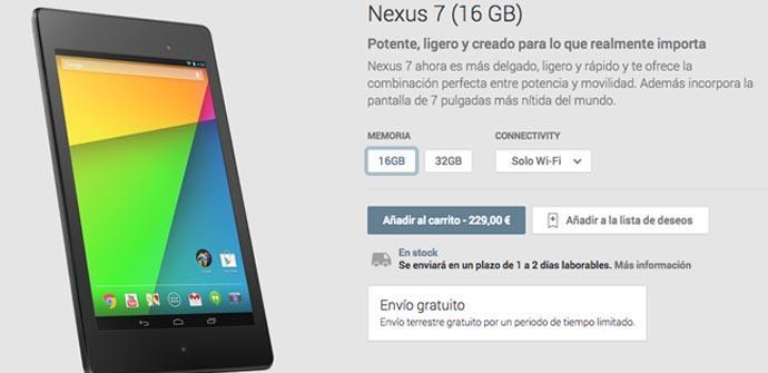 El nuevo Nexus 7 con gastos de envío gratis por tiempo limitado.