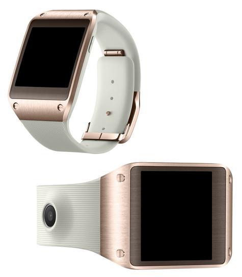 Samsung Galaxy Gear de color blanco y dorado