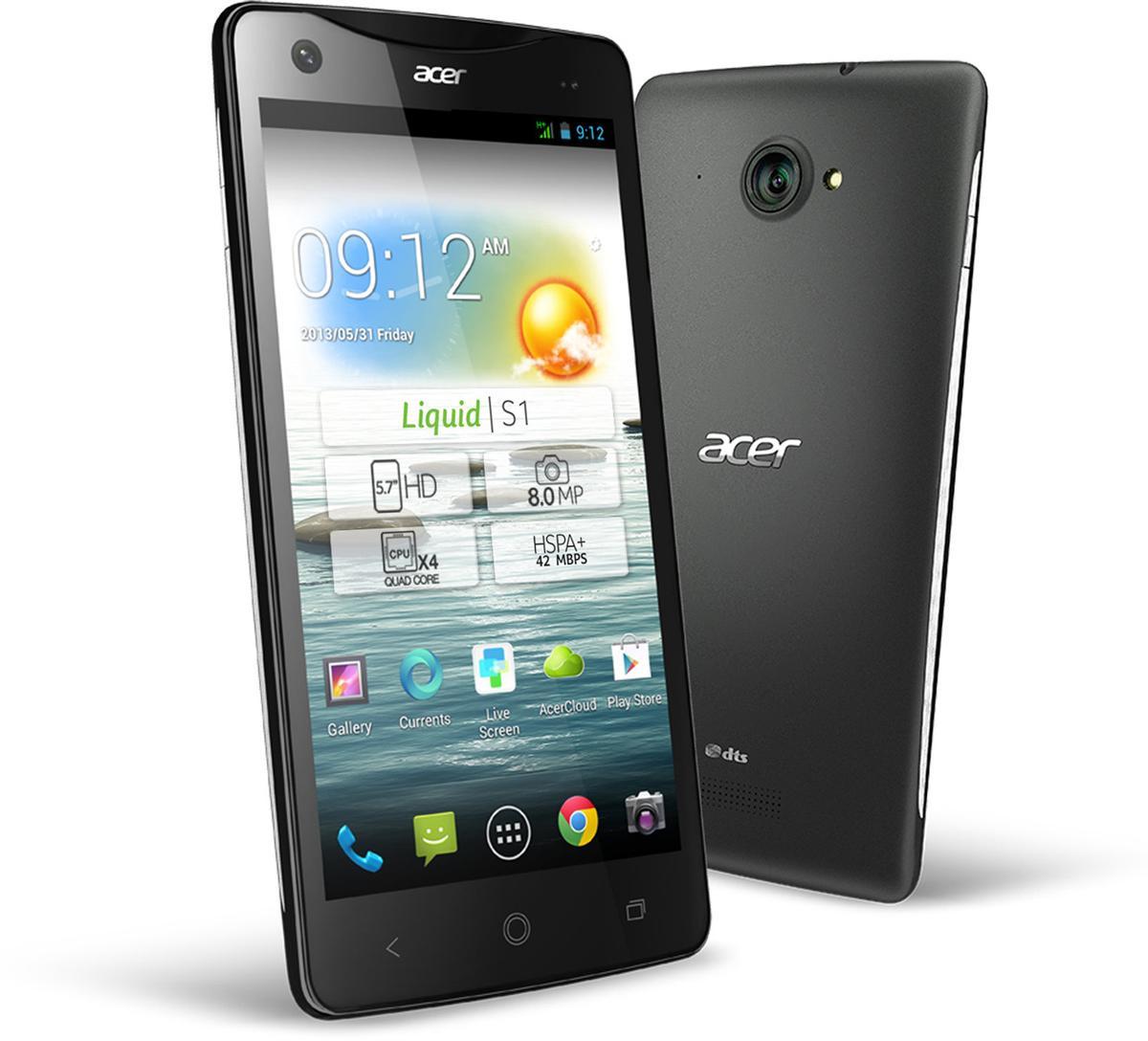 Acer Liquid S1 en color negro vista frontal y trasera