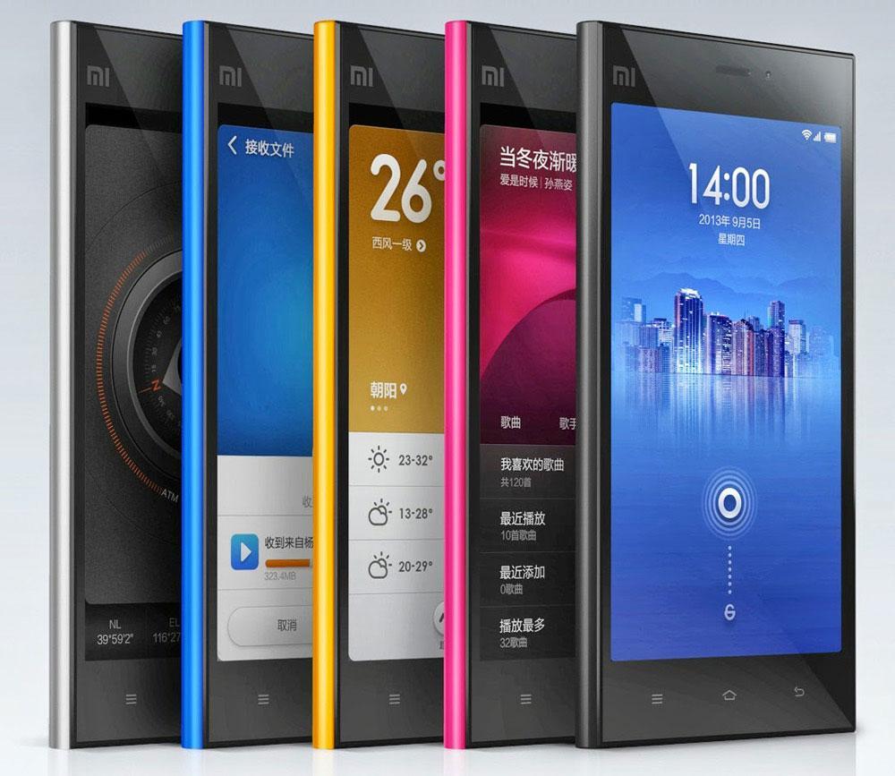 Xiaomi mi3 en negro, azul, amarillo, rojo y plata