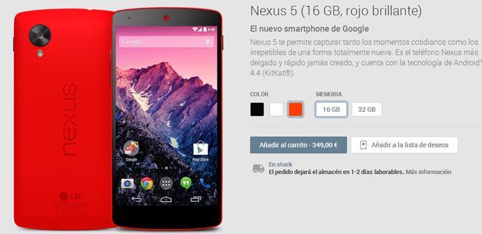 Nexus 5 en color rojo