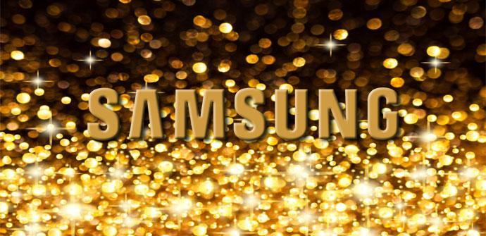 Logo de Samsung en color oro