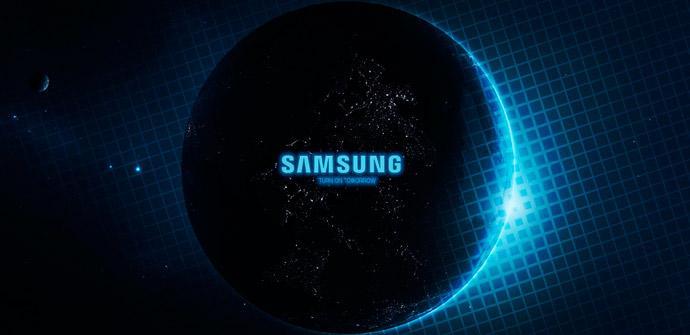 Logo de Samsung sobre fondo negro