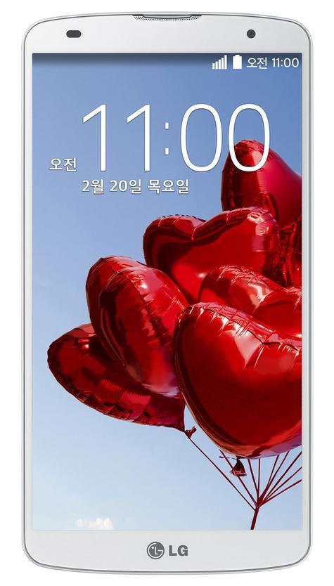 LG G Pro 2 en color blanco, vista frontal