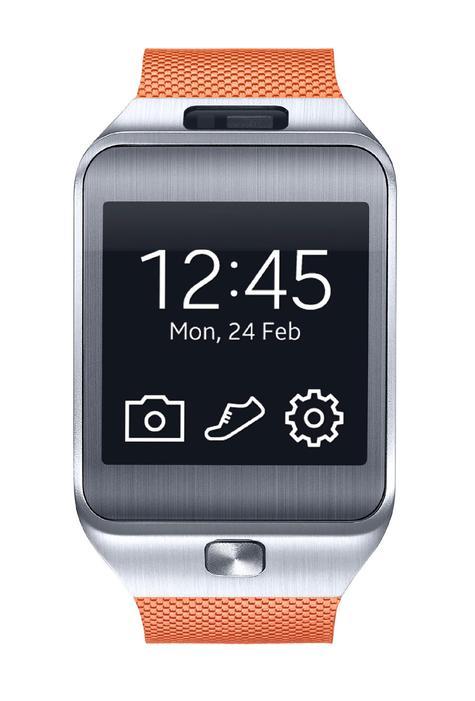 Samsung Gear 2 con pantalla e iconos de sistema operativo