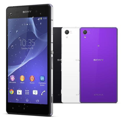 Sony Xperia Z2 en color azul, negro y violeta