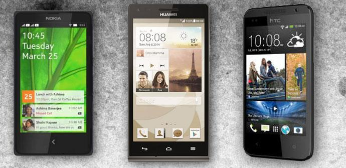 Nokia X+, Huawei Ascend G6 y HTC Desire 610