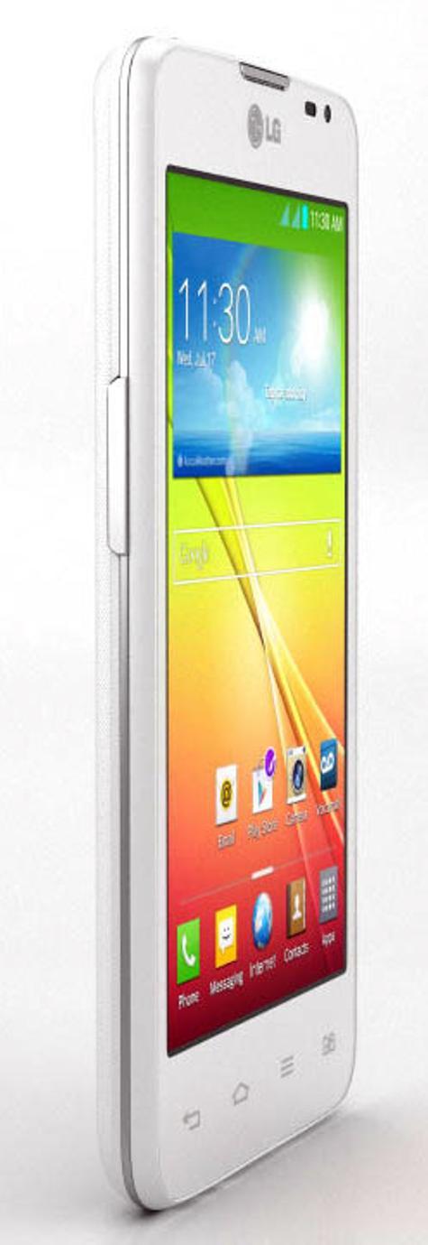 LG L65 de color blanco visto de lado