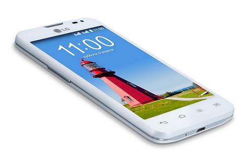 LG L65 de color blanco con pantalla encendida