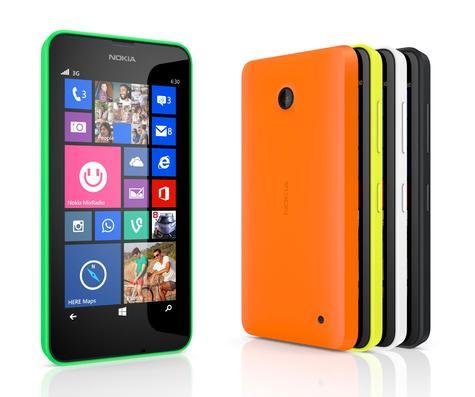 Nokia Lumia 630 en color verde, naranja y amarillo