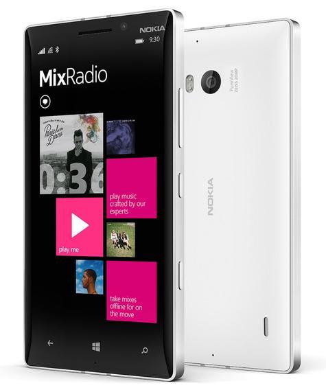Nokia Lumia 930 vista frontal en negro y trasera en blanco