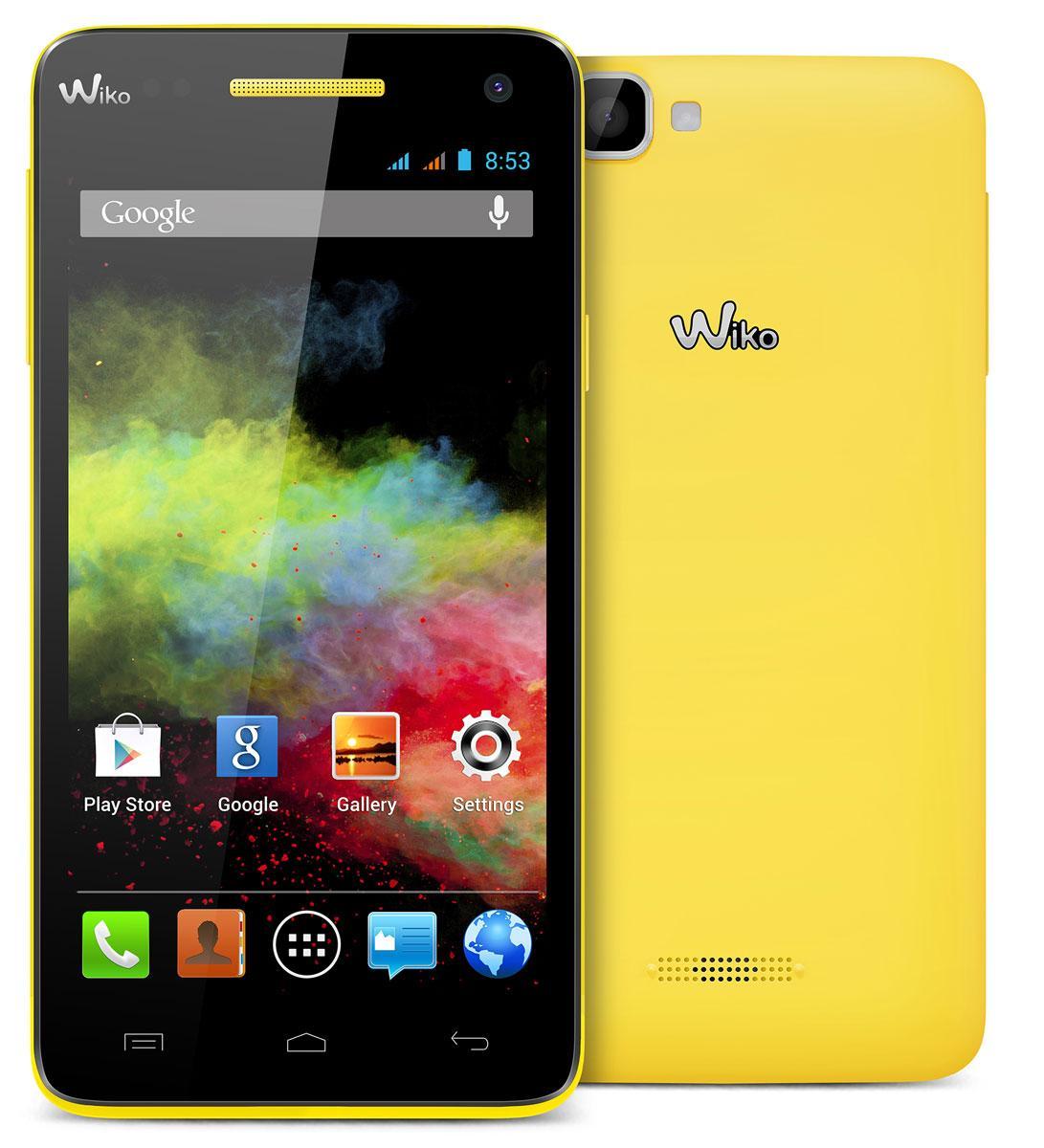 Wiko Rainbow en color negro y trasera de color amarillo