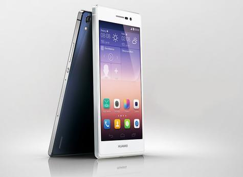 Huawei Ascend P7 en color blanco visto de perfil