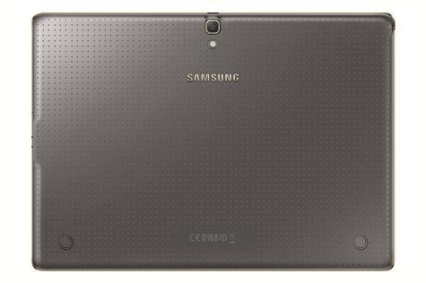 Samsung Galaxy Tab S en color marrón con bisel dorado