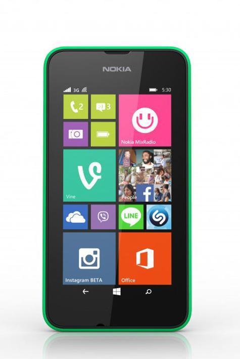 Nokia Lumia 530 vista frontal en color verde