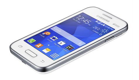 Samsung Galaxy Young 2 blanco vista frontal superior