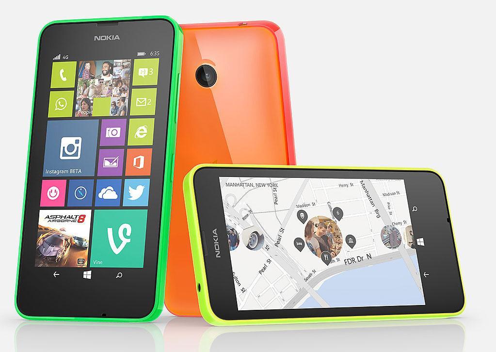 Nokia Lumia 635 4G en verde, naranja y amarillo