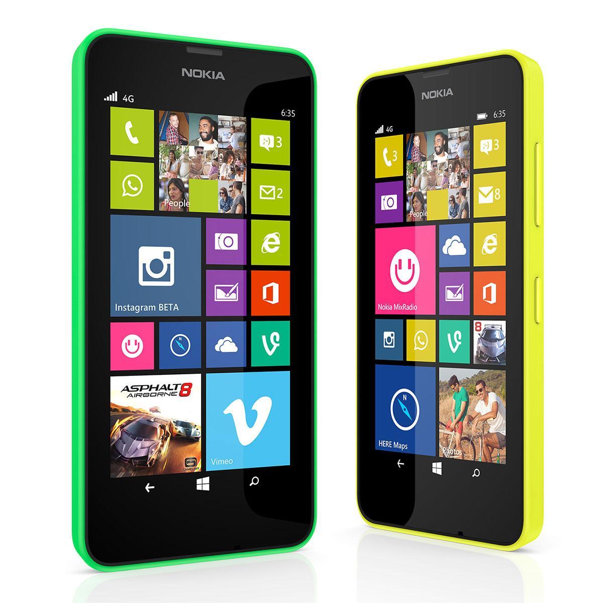 Nokia Lumia 635 4G en verde y amarillo