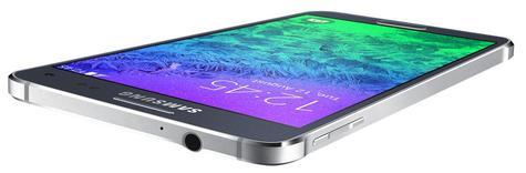 Samsung Galaxy Alpha en color negro vista apaisada