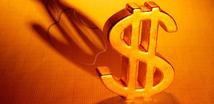 sombra de dólar sobre logo de apple