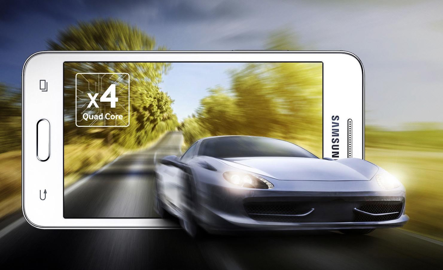 Samsung Galaxy Core 2 con coche saliendo de la pantalla