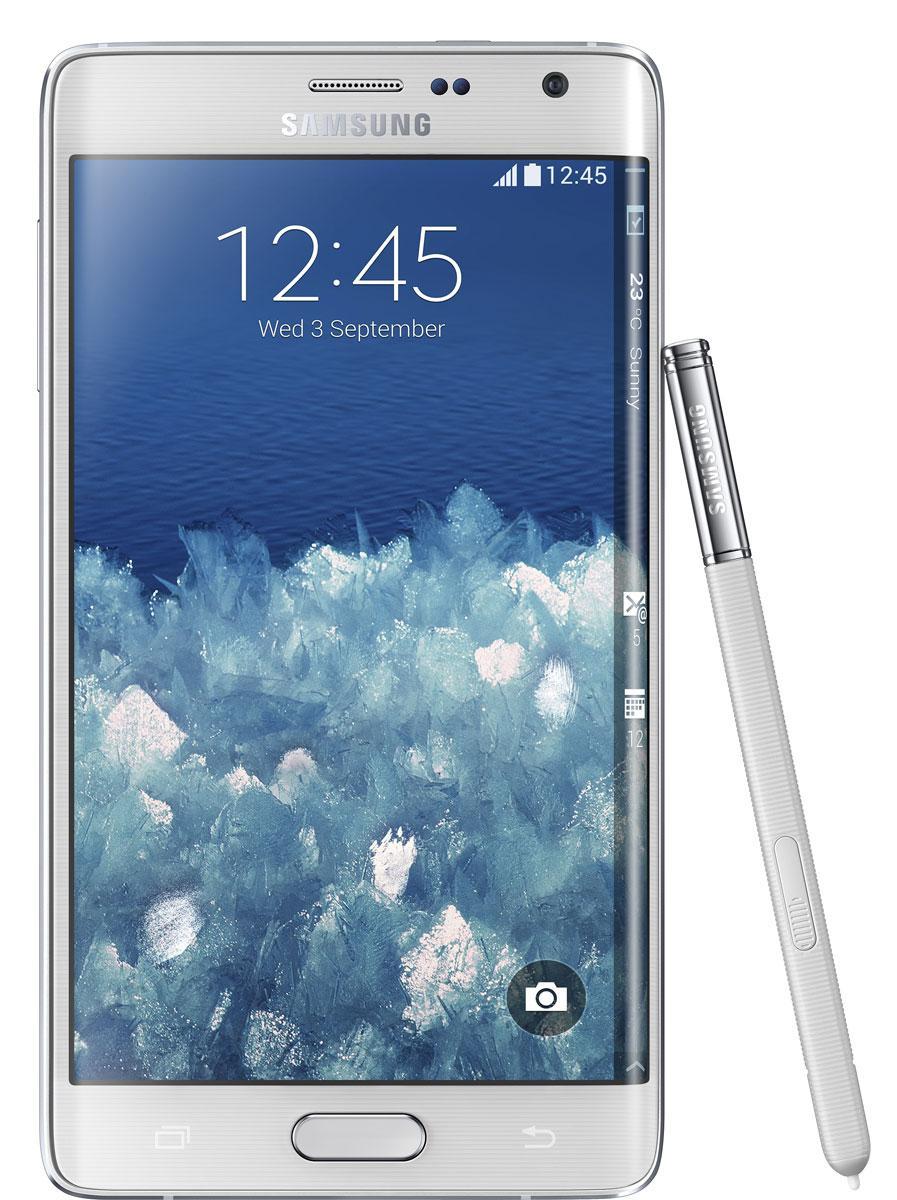 Samsung Galaxy Note Edge en color blanco.