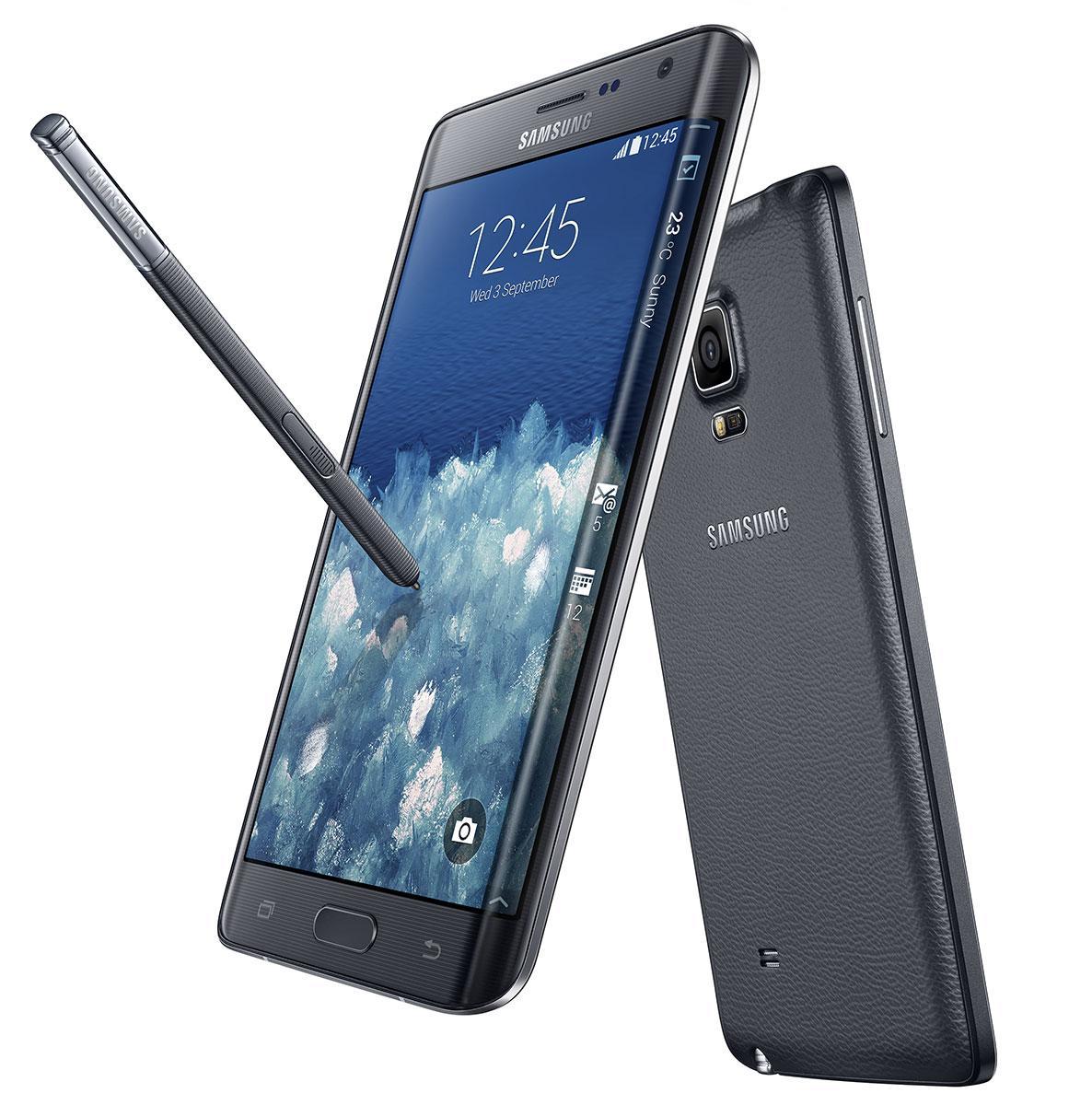 Samsung Galaxy Note Edge en color negro.