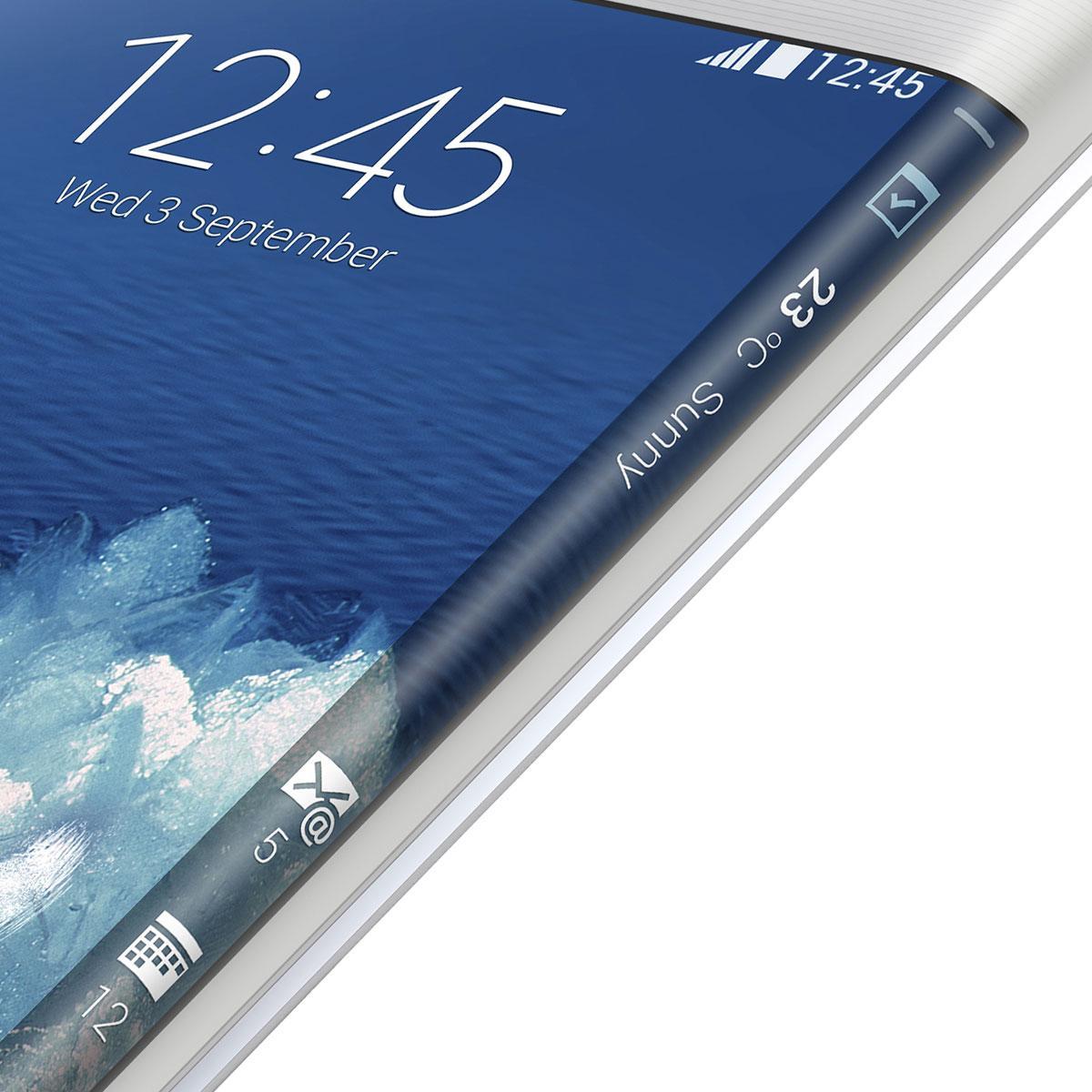 Detalle de la pantalla curvada del Samsung Galaxy Note Edge