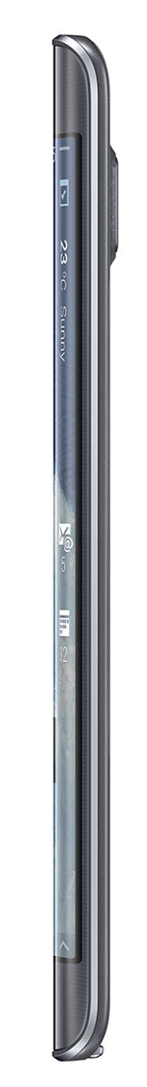 Samsung Galaxy Note Edge visto de perfil con su pantalla curvada