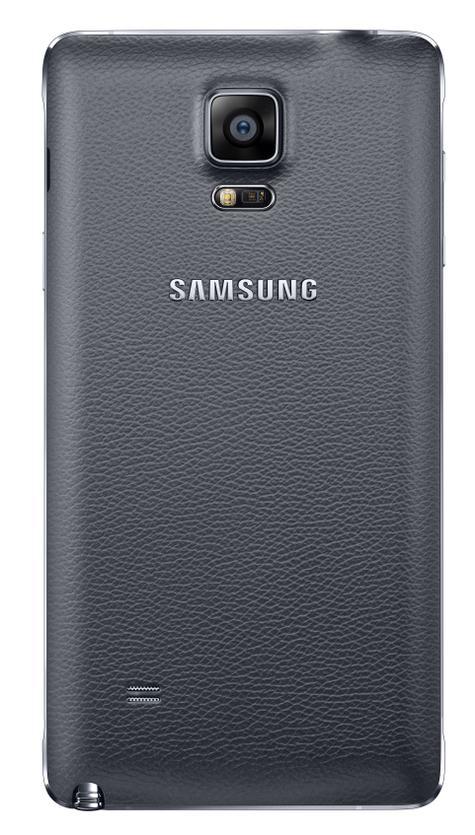 Samsung Galaxy Note 4 en color negro visto por detras