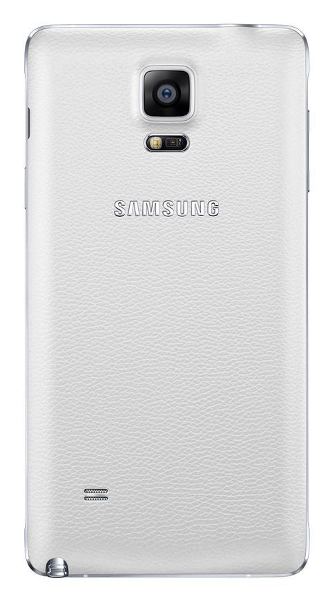 Samsung Galaxy Note 4 en color blanco visto por detrás