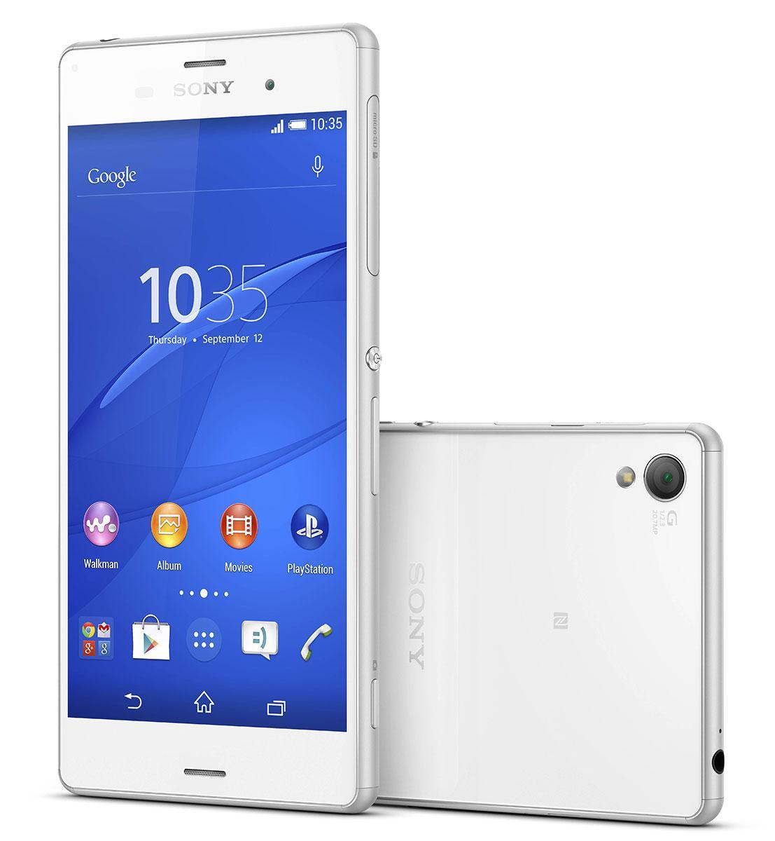 El Sony Xperia Z3 en color blanco, visión frontal y trasera