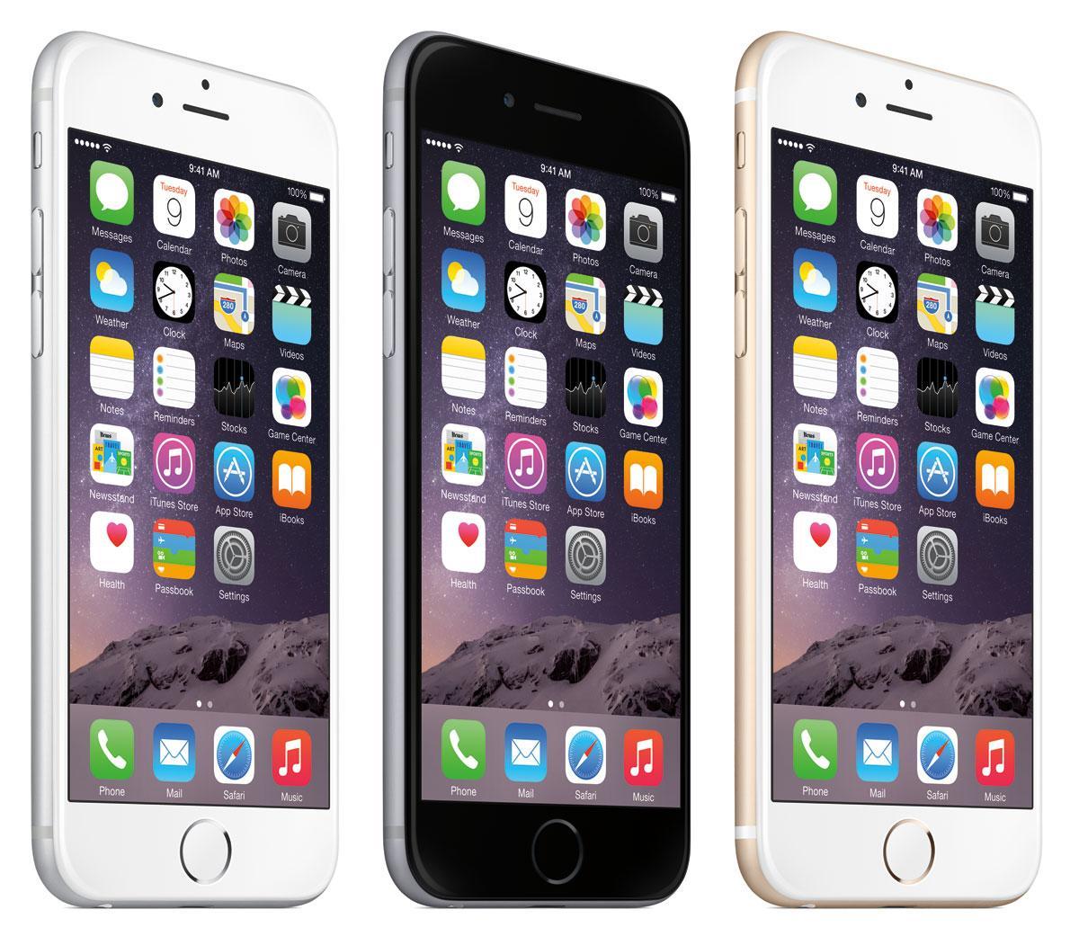 iPhone 6 en blanco, negro y oro