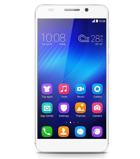 Huawei Honor 6 blanco vista frontal
