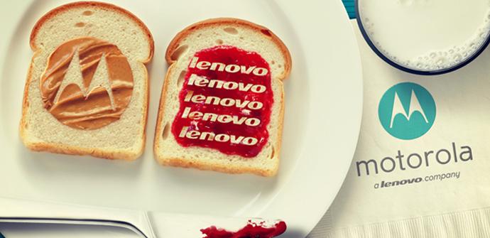 Logos de Lenovo y Motorola en una tostada