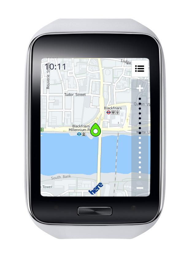 Samsung Gear S con mapas en pantalla
