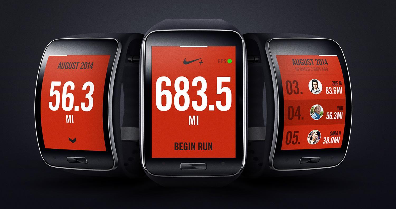 Samsung Gear S con la aplicación de Nike en la pantalla