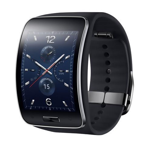 Samsung Gear S en color azul visto de perfil