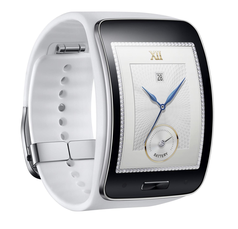 Samsung Gear S en color blanco con correa de color blanco