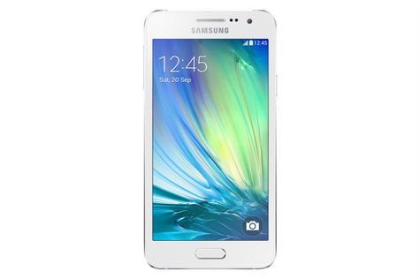 Samsung Galaxy A3 en color blanco frontal